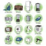 Aparatos electrodomésticos dibujados mano Imagenes de archivo
