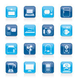 Aparatos electrodomésticos e iconos de la electrónica Fotos de archivo