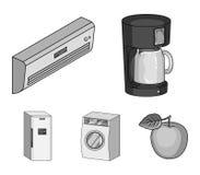 Aparatos electrodomésticos e iconos monocromáticos del equipo en la colección del sistema para el diseño Símbolo moderno del vect Foto de archivo libre de regalías