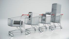 Aparatos electrodomésticos en el carro de la compra Comercio electrónico o concepto en línea de las compras Foto de archivo
