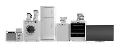 Aparatos electrodomésticos en el fondo blanco ilustración 3D ilustración del vector