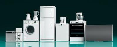 Aparatos electrodomésticos en piso azulverde ilustración 3D ilustración del vector