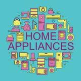 Aparatos electrodomésticos Iconos de los aparatos electrodomésticos colocados en un círculo Imagen de archivo libre de regalías