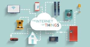 Aparatos electrodomésticos que conectan con la computación de la nube stock de ilustración