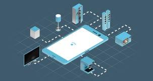 Aparatos electrodomésticos que conectan a través del teléfono elegante ilustración del vector
