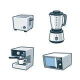 Aparatos electrodomésticos 3 - tostadora, licuadora, fabricante de café, microonda Ov stock de ilustración
