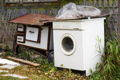 Aparatos electrodomésticos viejos Fotos de archivo