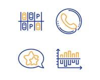 Aparcamiento, sistema de los iconos del centro de atenci?n telef?nica y de la estrella Muestra de la carta del diagrama Transport libre illustration