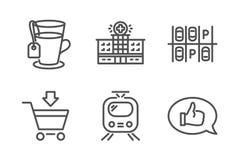 Aparcamiento, sistema de los iconos del tren y del té Edificio del hospital, mercado en línea y muestras de la reacción Transport stock de ilustración