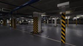 Aparcamiento subterráneo con pocos coches almacen de video
