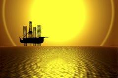 Aparejo costa afuera de la perforación petrolífera stock de ilustración