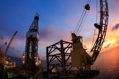 Aparejo de Jack Up Offshore Oil Drilling con ángulo del ojo de pescados foto de archivo