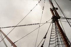 Aparejo de la nave y cuerda de la vela con los palos Foto de archivo