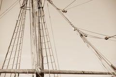 Aparejo y cuerdas del velero antiguo Fotografía de archivo libre de regalías