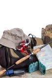 Aparejos de pesca con el bolso y el sombrero Imágenes de archivo libres de regalías