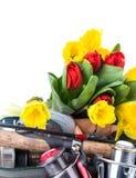 Aparejos de pesca con las flores de la primavera Imagenes de archivo