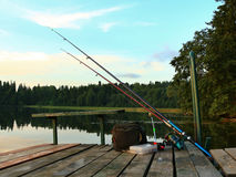Aparejos de pesca listos para pescar Fotografía de archivo libre de regalías