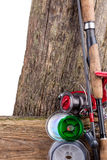 Aparejos de pesca y cebos de pesca en de madera Imagen de archivo libre de regalías