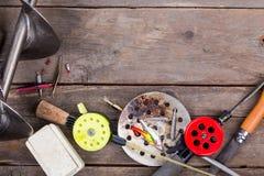 Aparejos de pesca y equipo del hielo del primer Foto de archivo libre de regalías