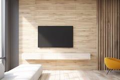 Aparelho de televisão e sofá de madeira da sala de visitas ilustração stock