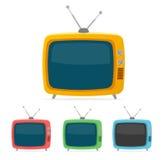 Aparelho de televisão retro do vetor Projeto liso ilustração do vetor