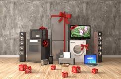 Aparelho eletrodoméstico com fitas e discontos no interior illust 3d ilustração stock