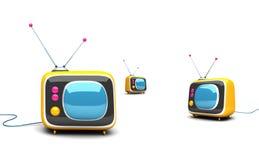 aparelhos de televisão 3d retros Fotos de Stock Royalty Free