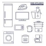 Aparelhos electrodomésticos Linha ícones Imagem de Stock Royalty Free