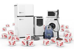 Aparelhos eletrodomésticos ajustados com os cubos vermelhos dos por cento do disconto 3d ren Imagem de Stock Royalty Free