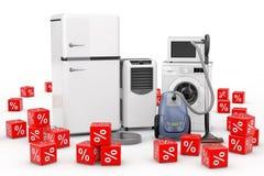 Aparelhos eletrodomésticos ajustados com os cubos vermelhos dos por cento do disconto 3d ren Imagens de Stock
