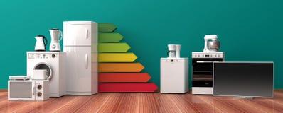 Aparelhos eletrodomésticos e avaliação de uso eficaz da energia ilustração 3D Foto de Stock Royalty Free
