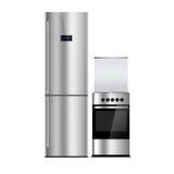 Aparelhos eletrodomésticos em um fundo branco Refrigerador de aço inoxidável isolado no branco Prata Congelador de refrigerador O Imagem de Stock