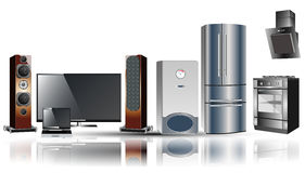 Aparelhos eletrodomésticos: fogão, extrator, refrigerador, caldeira, tevê, portátil Foto de Stock Royalty Free