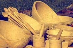 Apariencia vintage en un grupo de objetos de madera, rumano tradicional Imagen de archivo libre de regalías