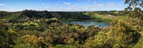 Panoramic view of Mount Gambier Valley Lake ,Mt Gambier, South Australia, Australia stock image