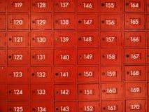 Apartado de correos rojo de madera Imágenes de archivo libres de regalías