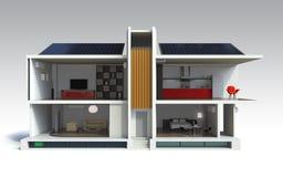 Apartamento à moda com sistemas do painel solar Fotos de Stock Royalty Free