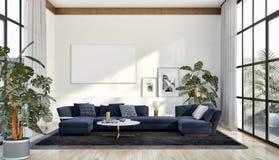 Apartamento brillante moderno de los interiores con mofa encima del illu del marco del cartel imágenes de archivo libres de regalías