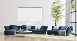 Apartamento brillante moderno de los interiores con mofa encima del illu del marco del cartel fotografía de archivo libre de regalías
