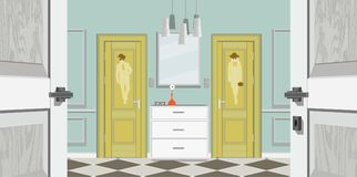 Apartamento clássico moderno do vintage de Hall Hallway Corridor In Old Ilustração do corredor Fotografia de Stock Royalty Free