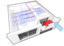 Apartamento con el enfriamiento del techo stock de ilustración