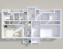 Apartamento 3d dobro Imagem de Stock