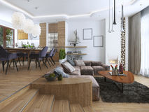 Apartamento de estúdio com sala de visitas e sala de jantar em um contempor Foto de Stock