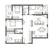 Apartamento de quatro quartos arquitetónico linear do plano de esboço Imagem de Stock Royalty Free