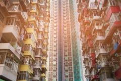 Apartamento del resinence de Hong Kong, estructura muy apretada del área de la residencia Fotos de archivo