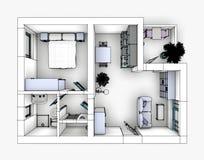 Apartamento do desenho Fotografia de Stock