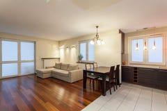 Apartamento espacioso - sala de estar fotografía de archivo libre de regalías