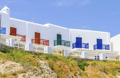 Apartamento grego da praia, Mykonos, Grécia Fotos de Stock Royalty Free