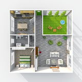 Apartamento home fornecido com pátio verde Imagens de Stock