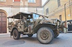Apartamento militar viejo de Dodge D 3/4 del camión ligero Foto de archivo libre de regalías